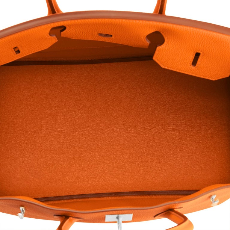 Hermes Birkin 35cm Classic Orange Togo Palladium Hardware NEW For Sale 4
