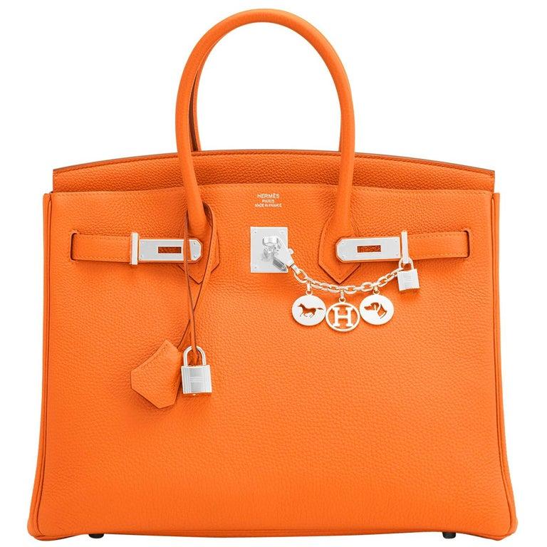 Hermes Birkin 35cm Classic Orange Togo Palladium Hardware NEW For Sale