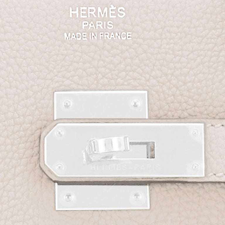 Hermes Birkin 35cm Craie Chalk Off White Bag Togo Palladium Hardware NEW For Sale 6