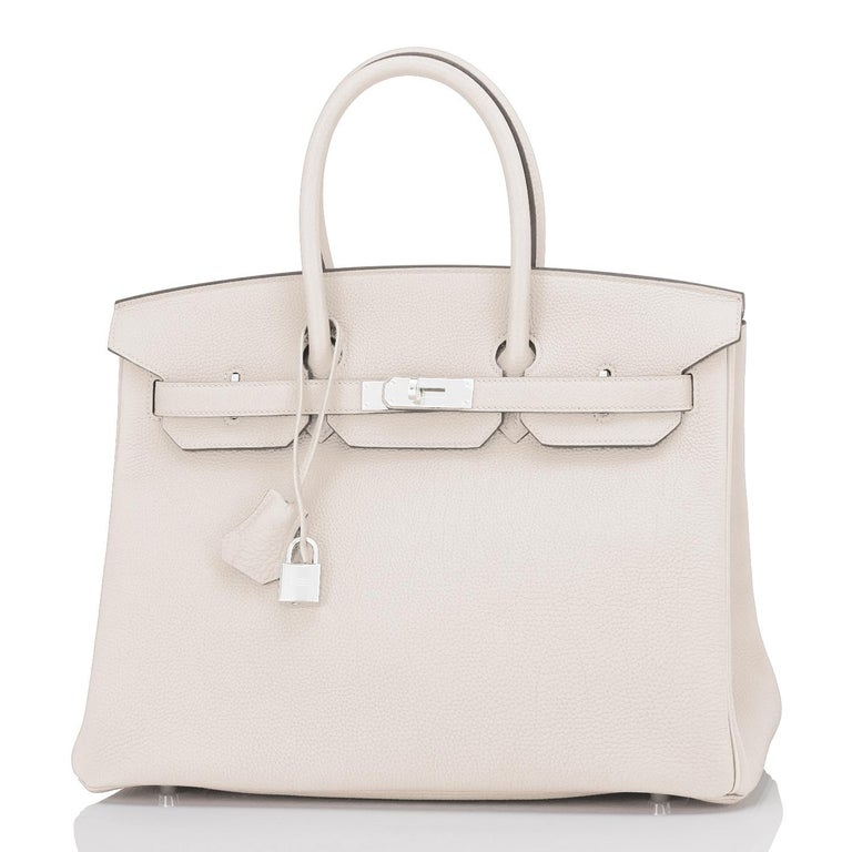 Hermes Birkin 35cm Craie Chalk Togo Palladium Hardware NEW Brand New in Box. Store fresh. Pristine Condition.  Perfect gift! Comes in full set with lock, keys, clochette, sleeper, raincoat, and orange Hermes box. Stunning Craie is the highly coveted