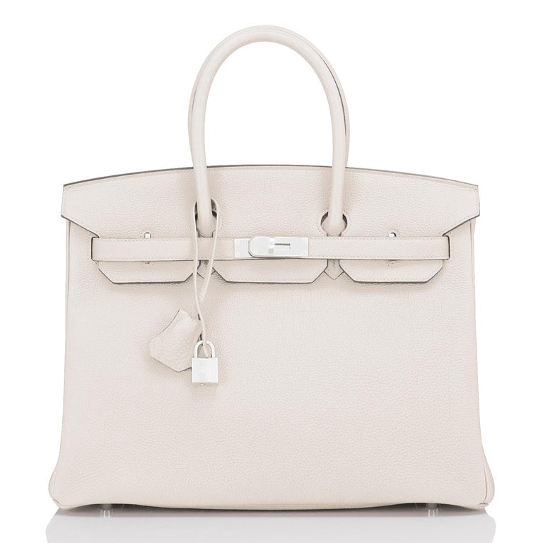 Hermes Birkin 35cm Craie Chalk Off White Bag Togo Palladium Hardware NEW In New Condition For Sale In New York, NY