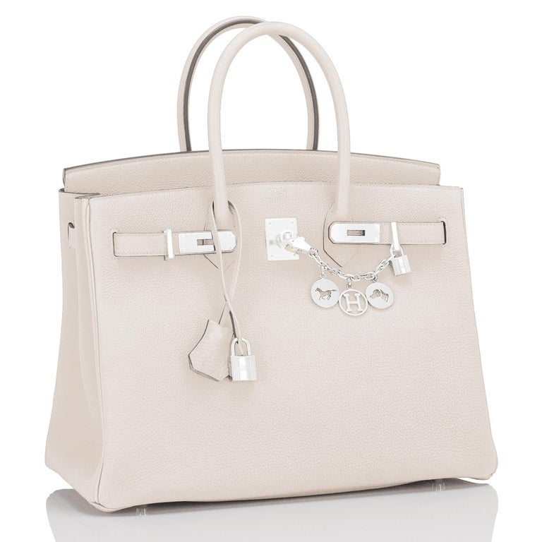 Women's or Men's Hermes Birkin 35cm Craie Chalk Off White Bag Togo Palladium Hardware NEW For Sale