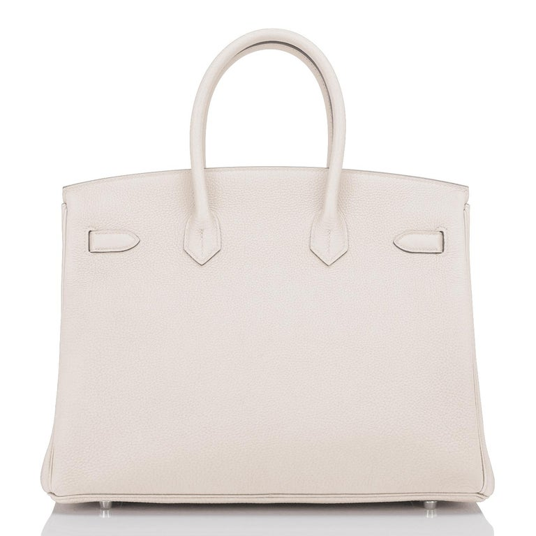Hermes Birkin 35cm Craie Chalk Off White Bag Togo Palladium Hardware NEW For Sale 1