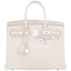 Hermes Birkin 35cm Craie Chalk Off White Bag Togo Palladium Hardware NEW