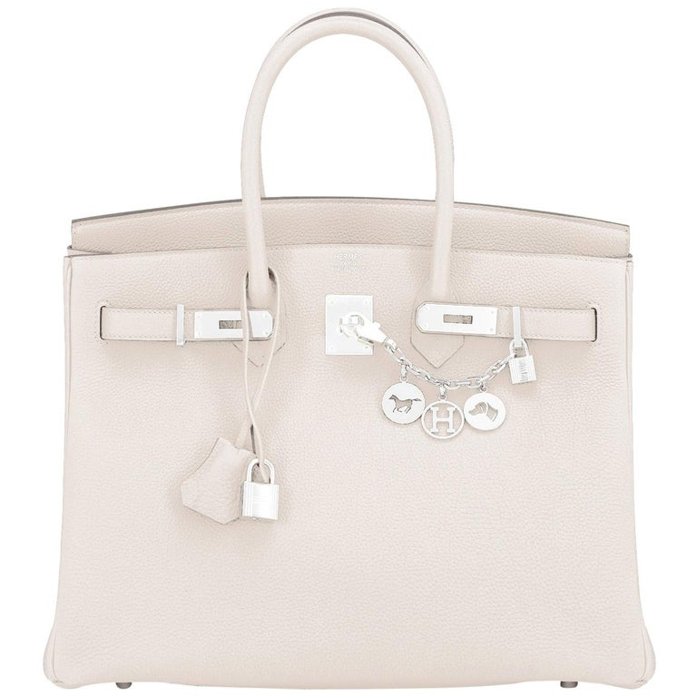 Hermes Birkin 35cm Craie Chalk Off White Bag Togo Palladium Hardware NEW For Sale