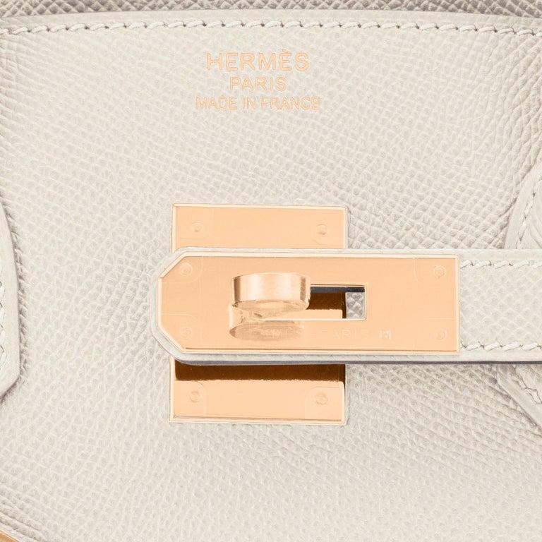 Hermes Birkin 35cm Craie Chalk Off White Epsom Rose Gold Y Stamp, 2020 RARE For Sale 5