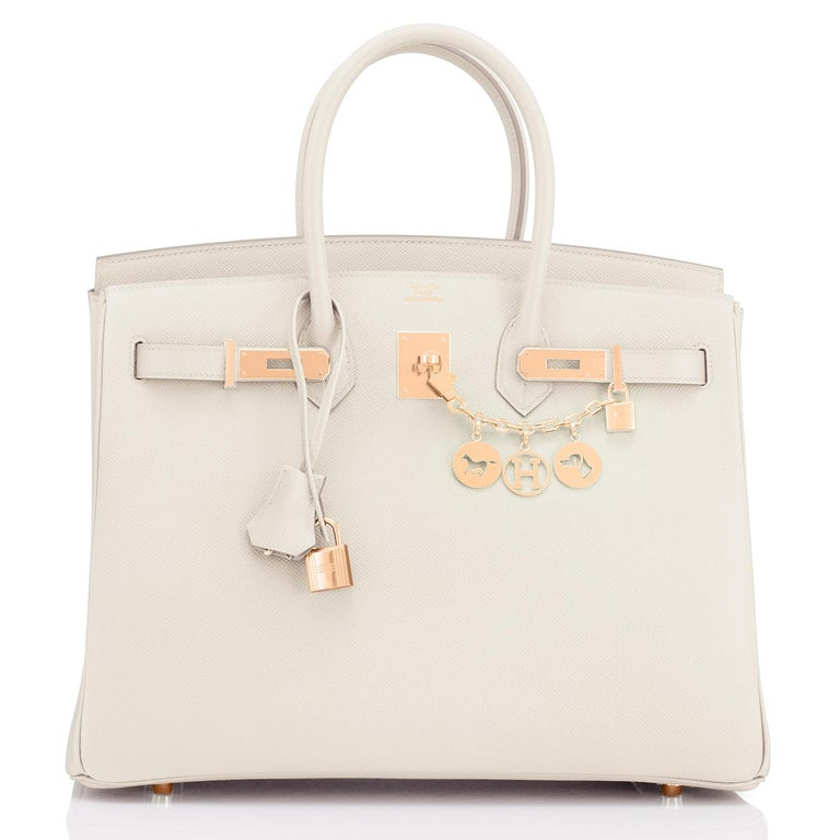 Hermes Craie 35cm Birkin Togo Rose Gold Hardware Chalk Off White Y Stamp, 2020 RARE Craie Birkin 35cm with Rose Gold is so spectacular and ultra rare! Just purchased from Hermes store; bag bears new interior 2020 Y Stamp. Brand New in Box. Store