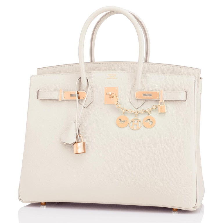 Hermes Birkin 35cm Craie Chalk Off White Epsom Rose Gold Y Stamp, 2020 RARE In New Condition For Sale In New York, NY