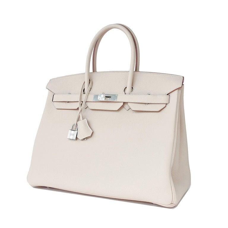 Hermes Birkin 35cm Craie Chalk Togo Palladium Hardware Y Stamp, 2020 Brand New in Box. Store fresh. Pristine Condition. Y stamp, 2020. Just purchased from Hermes store; bag bears interior Y stamp for 2020 production. Perfect gift! Comes in full set