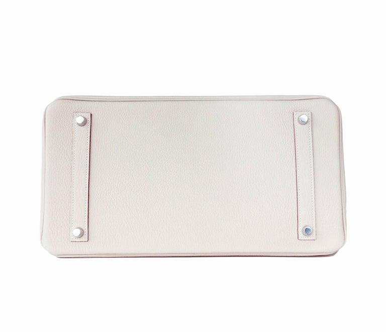 Women's or Men's Hermes Birkin 35cm Craie Chalk Togo Palladium Hardware Y Stamp, 2020 For Sale