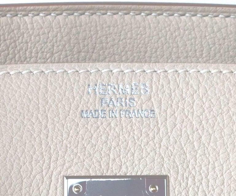 Hermes Birkin 35cm Craie Chalk Togo Palladium Hardware Y Stamp, 2020 For Sale 2