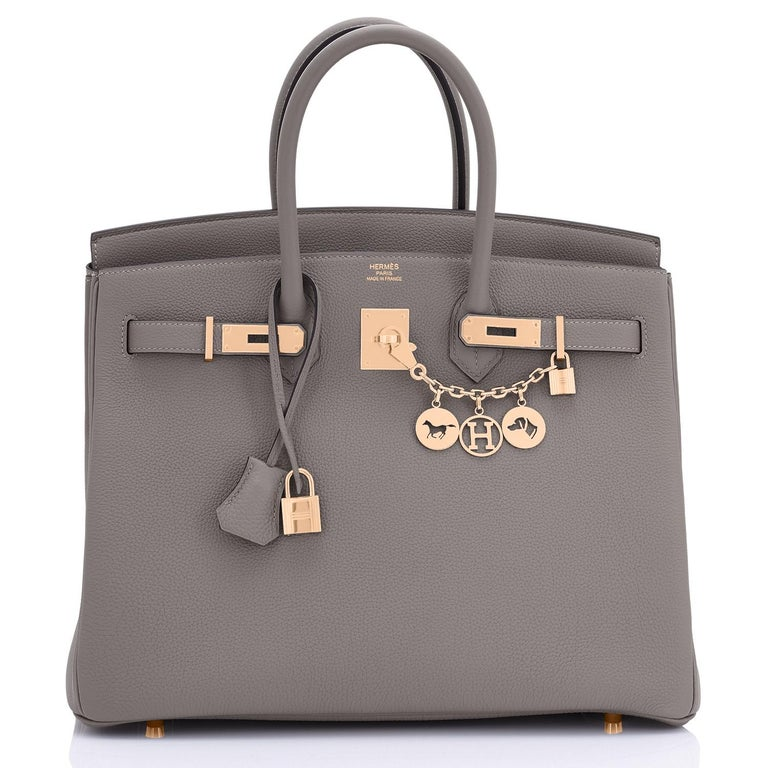 Hermes Birkin 35cm Etain Rose Gold Togo Tin Grey Hardware Bag Z Stamp, 2021 RARE Etain with Rose Gold is SO PRETTY in person! It is our most popular color and hardware combo now! Brand New in Box.  Store Fresh. Pristine condition (with plastic on