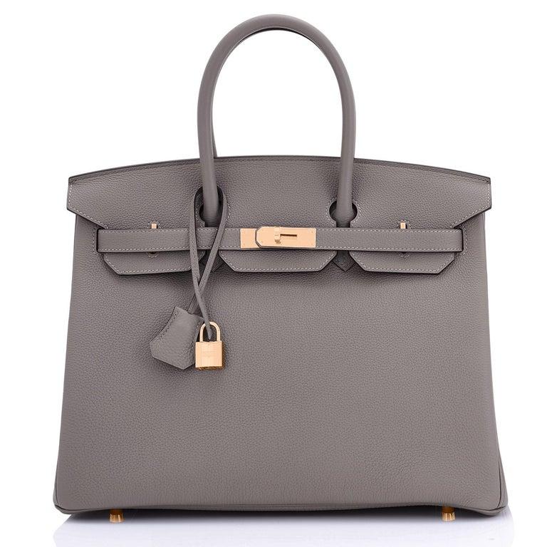 Gray Hermes Birkin 35cm Etain Rose Gold Togo Tin Grey Hardware Bag Z Stamp, 2021 RARE
