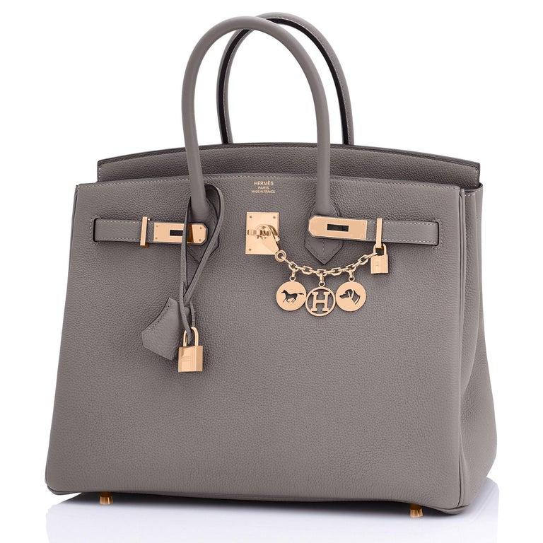 Hermes Birkin 35cm Etain Rose Gold Togo Tin Grey Hardware Bag Z Stamp, 2021 RARE In New Condition In New York, NY