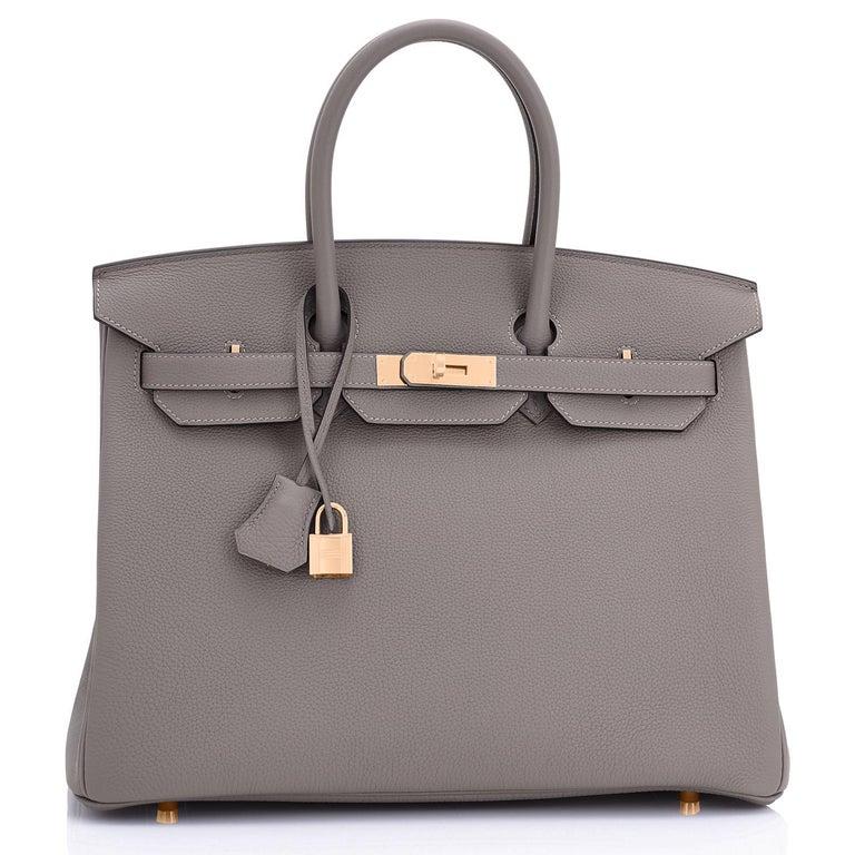 Women's or Men's Hermes Birkin 35cm Etain Rose Gold Togo Tin Grey Hardware Bag Z Stamp, 2021 RARE