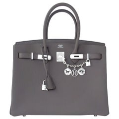 "Hermes Birkin 35cm Etain Togo ""Tin Grey"" Palladium Hardware Bag C Stamp"