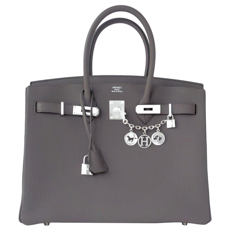 "Hermes Birkin 35cm Etain Togo ""Tin Grey"" Palladium Hardware Bag C Stamp For Sale"