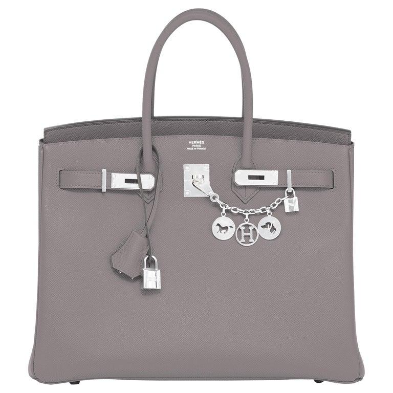 "Hermes Birkin 35cm Etain ""Tin Grey"" Palladium Hardware Bag Y Stamp, 2020 For Sale"