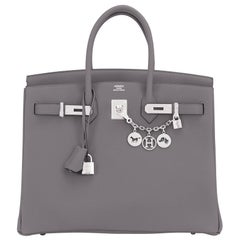 "Hermes Birkin 35cm Etain Togo ""Tin Grey"" Palladium Hardware Bag Y Stamp, 2020"