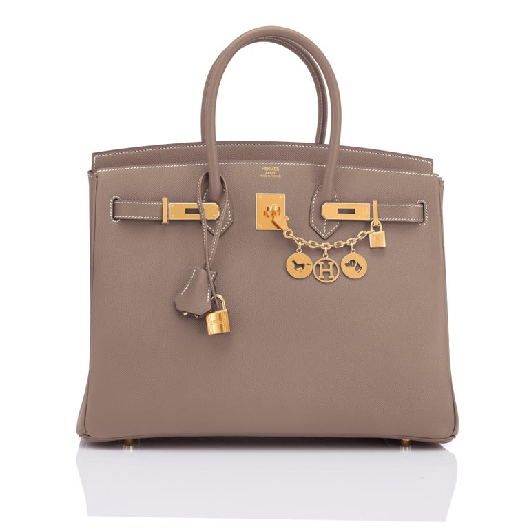 Hermes Birkin 35cm Etoupe Epsom Taupe Gold Hardware Bag Y Stamp, 2020 Just purchased from Hermes store; bag bears new 2020 interior Y Stamp. Brand New in Box. Store fresh. Pristine Condition (with plastic on hardware).  Perfect gift! Comes in full