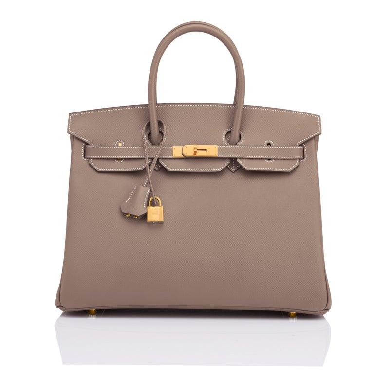 Brown Hermes Birkin 35cm Etoupe Epsom Taupe Gold Hardware Bag Y Stamp, 2020 For Sale