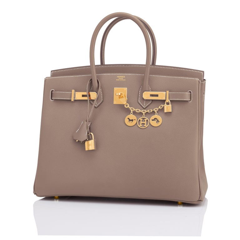 Hermes Birkin 35cm Etoupe Epsom Taupe Gold Hardware Bag Y Stamp, 2020 In New Condition For Sale In New York, NY