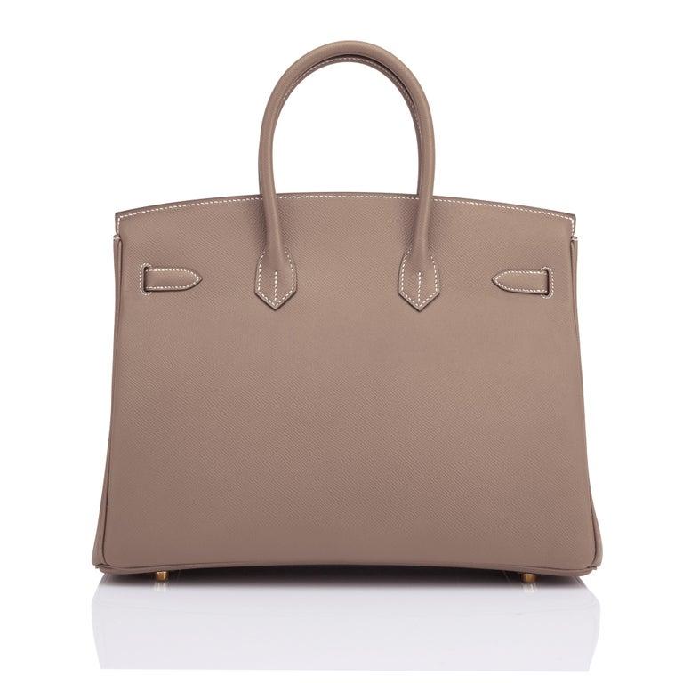 Women's or Men's Hermes Birkin 35cm Etoupe Epsom Taupe Gold Hardware Bag Y Stamp, 2020 For Sale