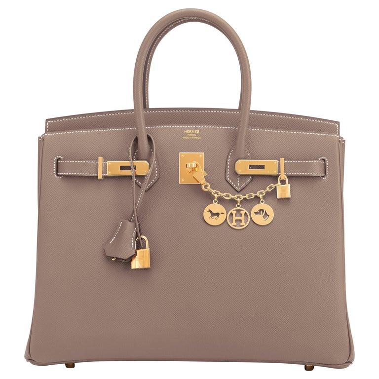 Hermes Birkin 35cm Etoupe Epsom Taupe Gold Hardware Bag Y Stamp, 2020 For Sale