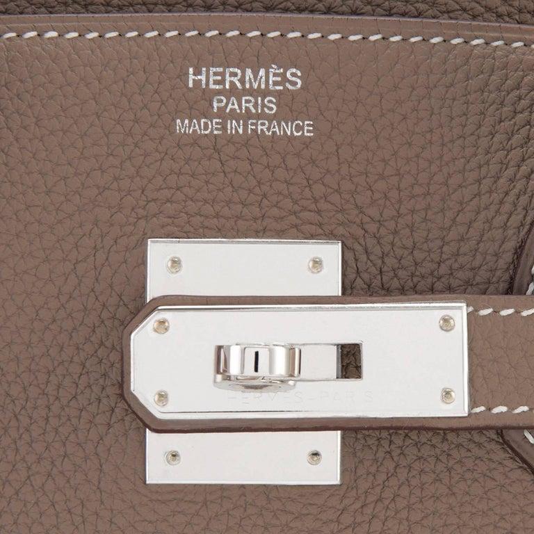 Hermes Birkin 35cm Etoupe Togo Palladium Hardware Bag Y Stamp, 2020  For Sale 5