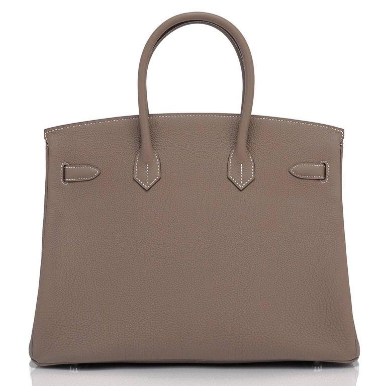 Hermes Birkin 35cm Etoupe Togo Palladium Hardware Bag Y Stamp, 2020  For Sale 2