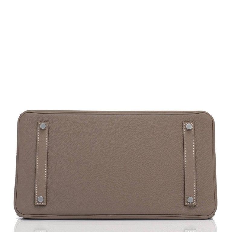 Hermes Birkin 35cm Etoupe Togo Palladium Hardware Bag Y Stamp, 2020  For Sale 4