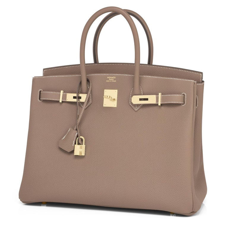 Hermes Birkin 35cm Etoupe Togo Taupe Gold Hardware Bag NEW In New Condition For Sale In New York, NY