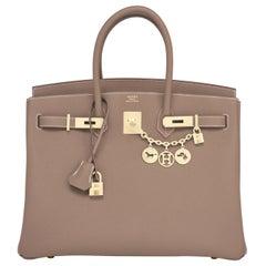 Hermes Birkin 35cm Etoupe Togo Taupe Gold Hardware Bag NEW