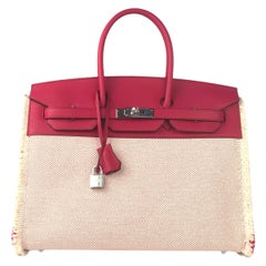 "Hermès Birkin 35cm ""Fray"" Framboise Swift & Ecru Canvas Palladium Hardware"