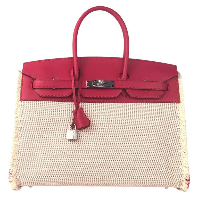 "Hermès Birkin 35cm ""Fray"" Framboise Swift & Ecru Canvas Palladium Hardware For Sale"
