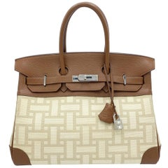 Hermès Birkin 35cm Gold Buffalo Leather and Toile Mosaic Palladium Hardware