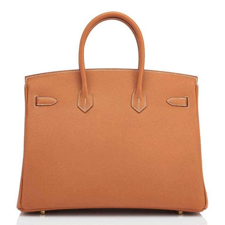 Hermes Birkin 35cm Gold Epsom Camel Tan Gold Hardware Rare Leather In New Condition For Sale In New York, NY