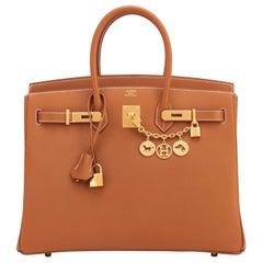 Hermes Birkin 35cm Gold Epsom Camel Tan Gold Hardware Rare Leather