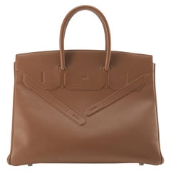 "Hermes Birkin 35cm Gold Evercalf ""Shadow"" Birkin"