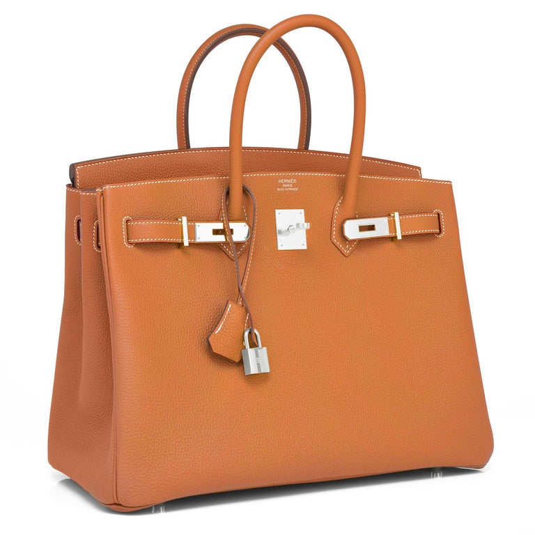 Hermes Gold Togo Camel Tan 35cm Birkin Palladium Hardware Y Stamp, 2020 Brand New in Box. Store Fresh. Pristine Condition (with plastic on hardware).  Perfect gift! Comes with lock, keys, clochette, sleeper, raincoat, and Hermes box. Gold is a