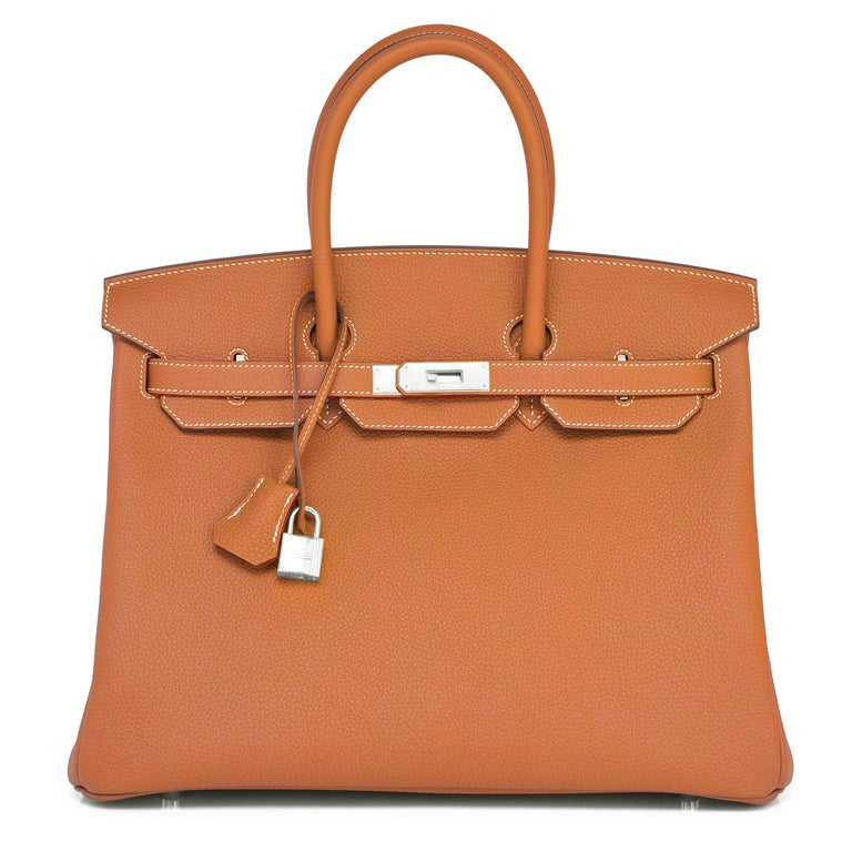 Hermes Birkin 35cm Gold Togo Camel Tan Palladium Hardware Bag Y Stamp, 2020 In New Condition For Sale In New York, NY