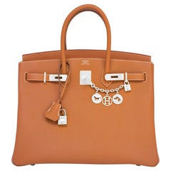 Hermes Birkin 35cm Gold Togo Camel Tan Palladium Hardware Bag Y Stamp, 2020