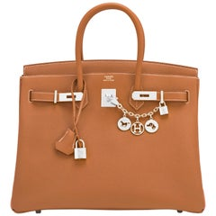 Hermes Birkin 35cm Gold Togo Camel Tan Palladium Hardware Bag Z Stamp, 2021