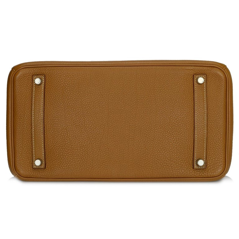 Women's or Men's Hermès Birkin 35cm Gold Togo Leather with Palladium Hardware Stamp K Year 2007