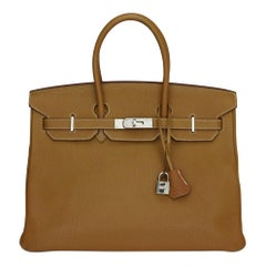 Hermès Birkin 35cm Gold Togo Leather with Palladium Hardware Stamp K Year 2007