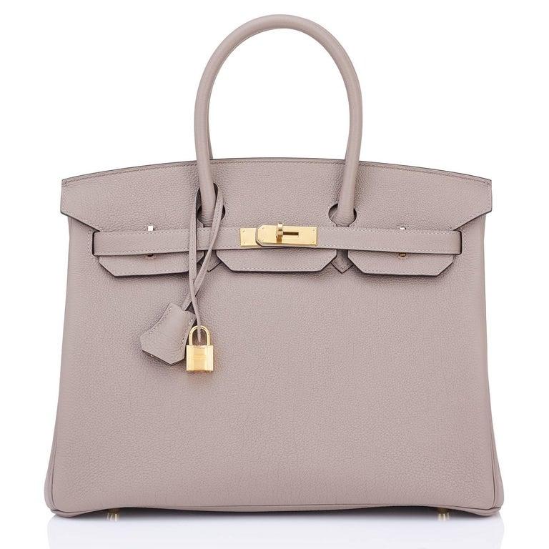 Hermes Birkin 35cm Gris Asphalte Dove Grey Togo Gold Hardware Asphalt Birkin Bag In New Condition For Sale In New York, NY