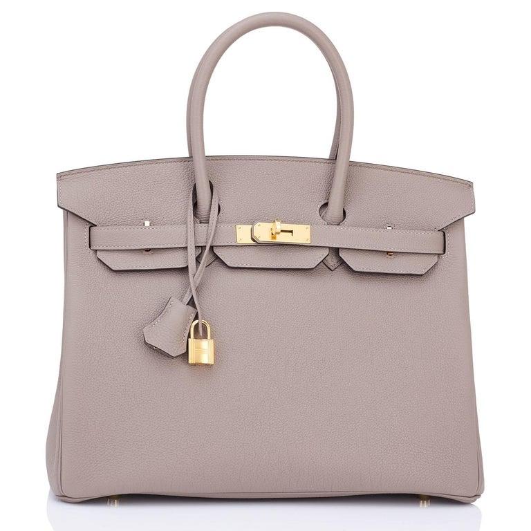 Women's or Men's Hermes Birkin 35cm Gris Asphalte Dove Grey Togo Gold Hardware Asphalt Birkin Bag For Sale