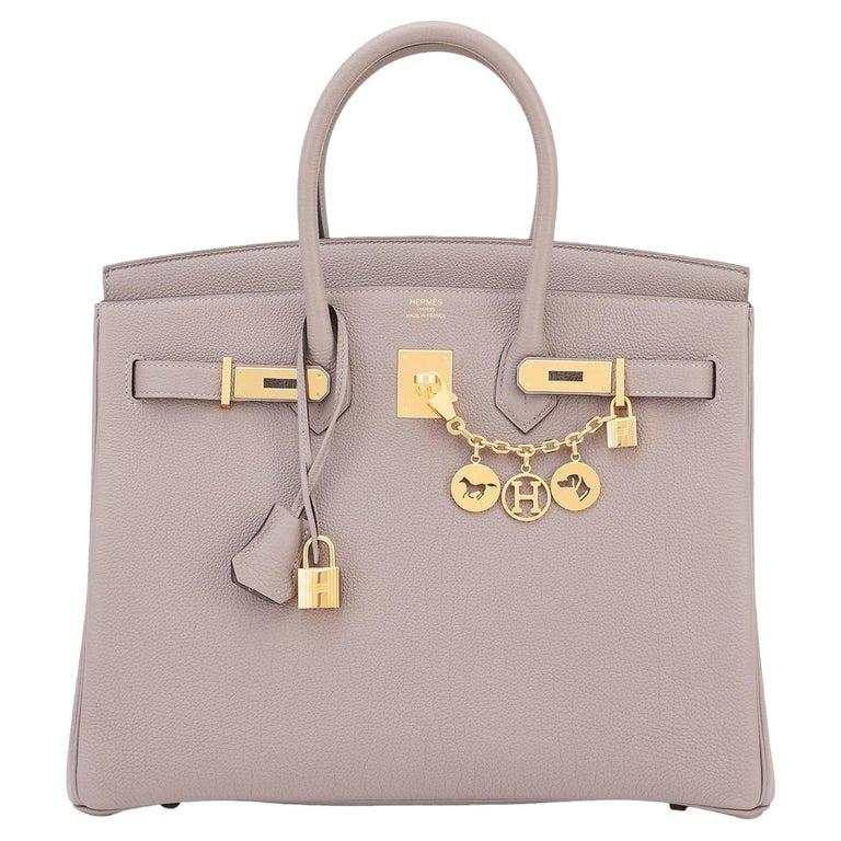 Hermes Birkin 35cm Gris Asphalte Dove Grey Togo Gold Hardware Asphalt Birkin Bag For Sale
