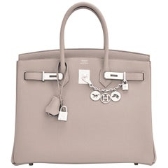 Hermes Birkin 35cm Gris Asphalte Grey Togo Palladium Asphalt Bag NEW RARE