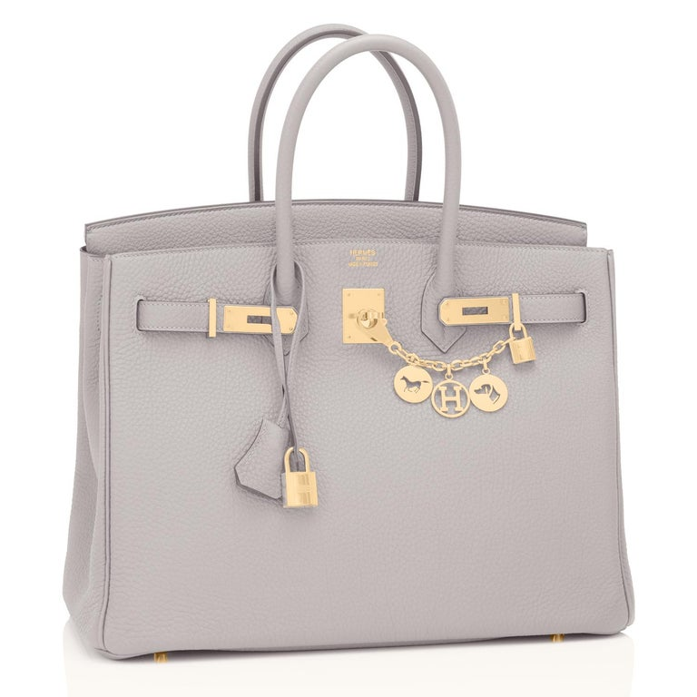 Guaranteed Authentic Hermes Birkin 35cm Gris Perle Pearl Gray Gold Hardware Y Stamp, 2020 Just purchased from Hermes store; bag bears new interior 2020 Y Stamp. Brand New in Box in Store Fresh, Pristine Condition (with plastic on hardware) Perfect